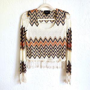 Romeo + Juliet Couture Zigzag Crochet Crop Top